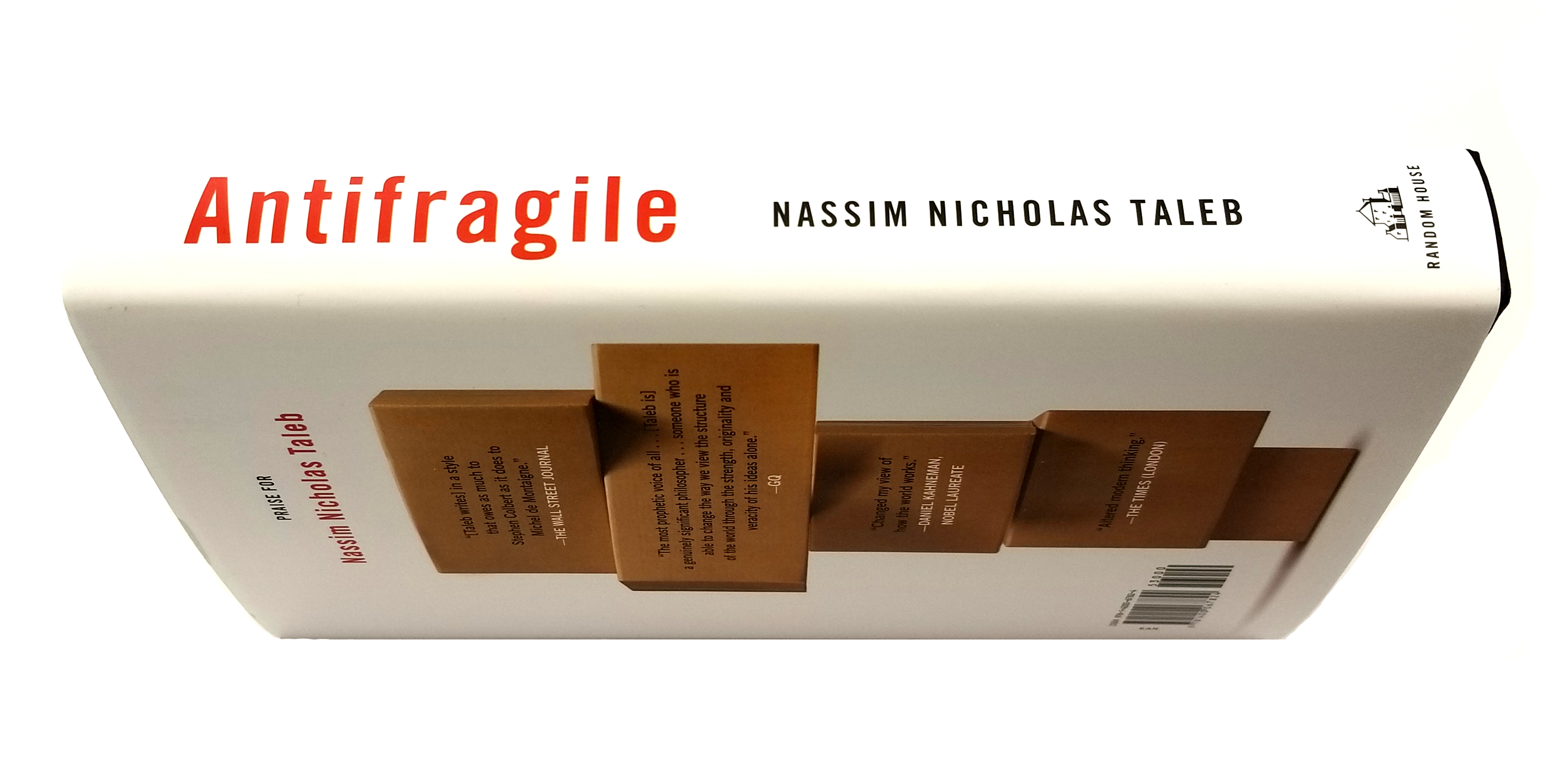 side angle of nassim nicholas taleb's antifragile book, you can see binding and back cover slightly